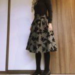 しまむら花柄スカートコーデ冬!40代プチプラファッション